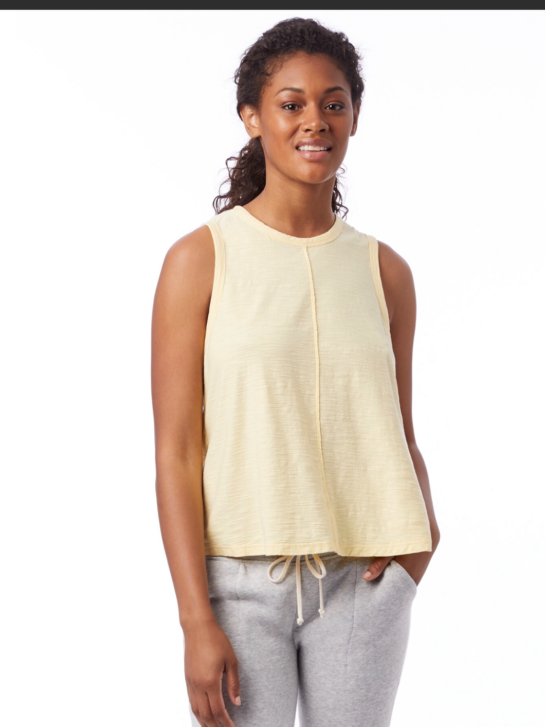 Slub  Muscle Tee W/ Center Seam