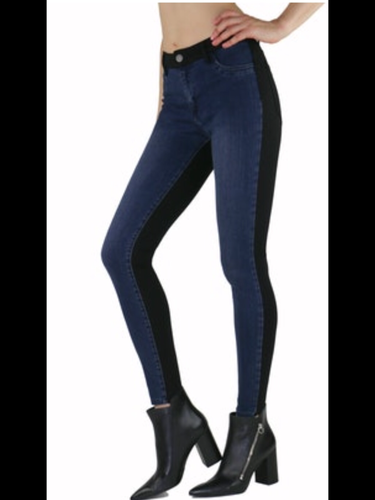 Two Tone Stretch Skinny Jean