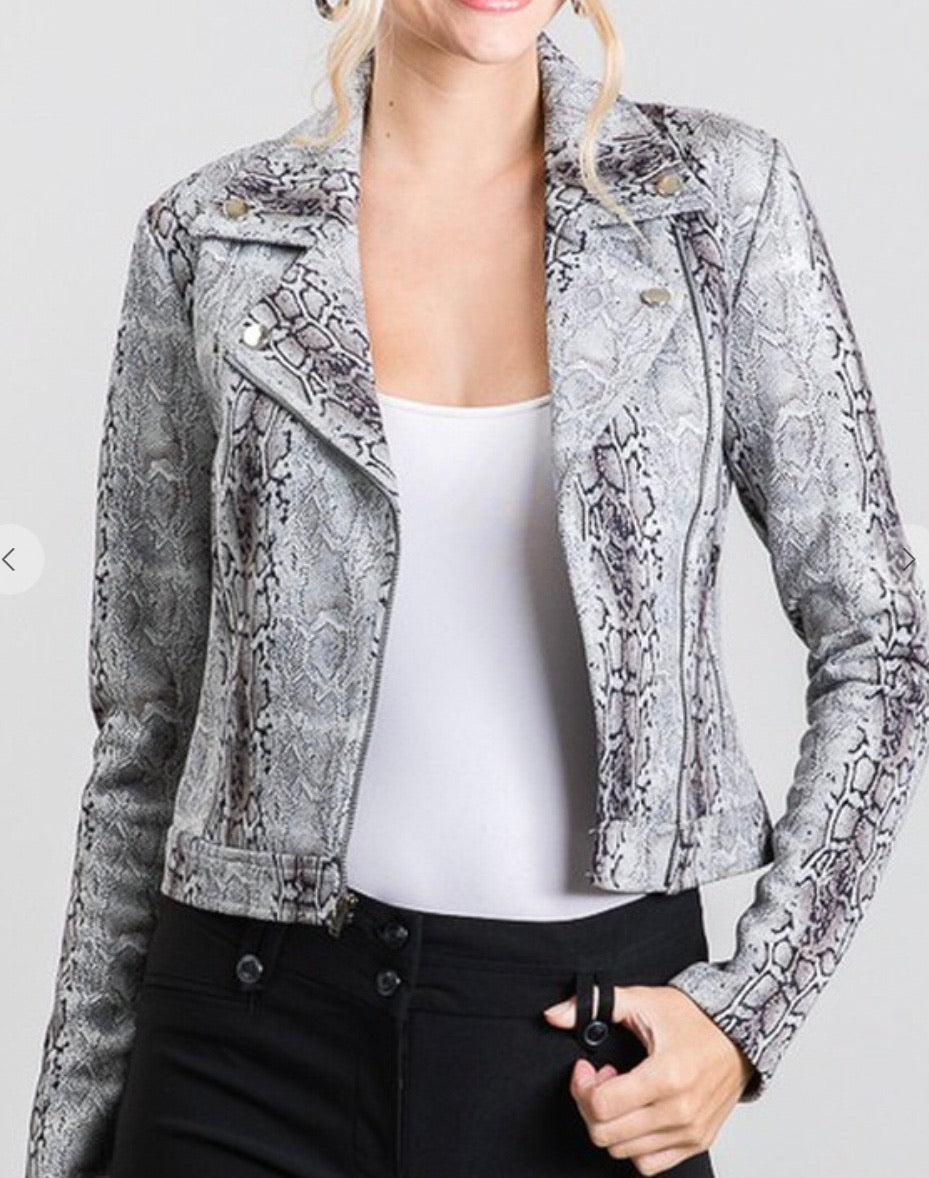 Snake Suede Moto Faux Suede Jacket
