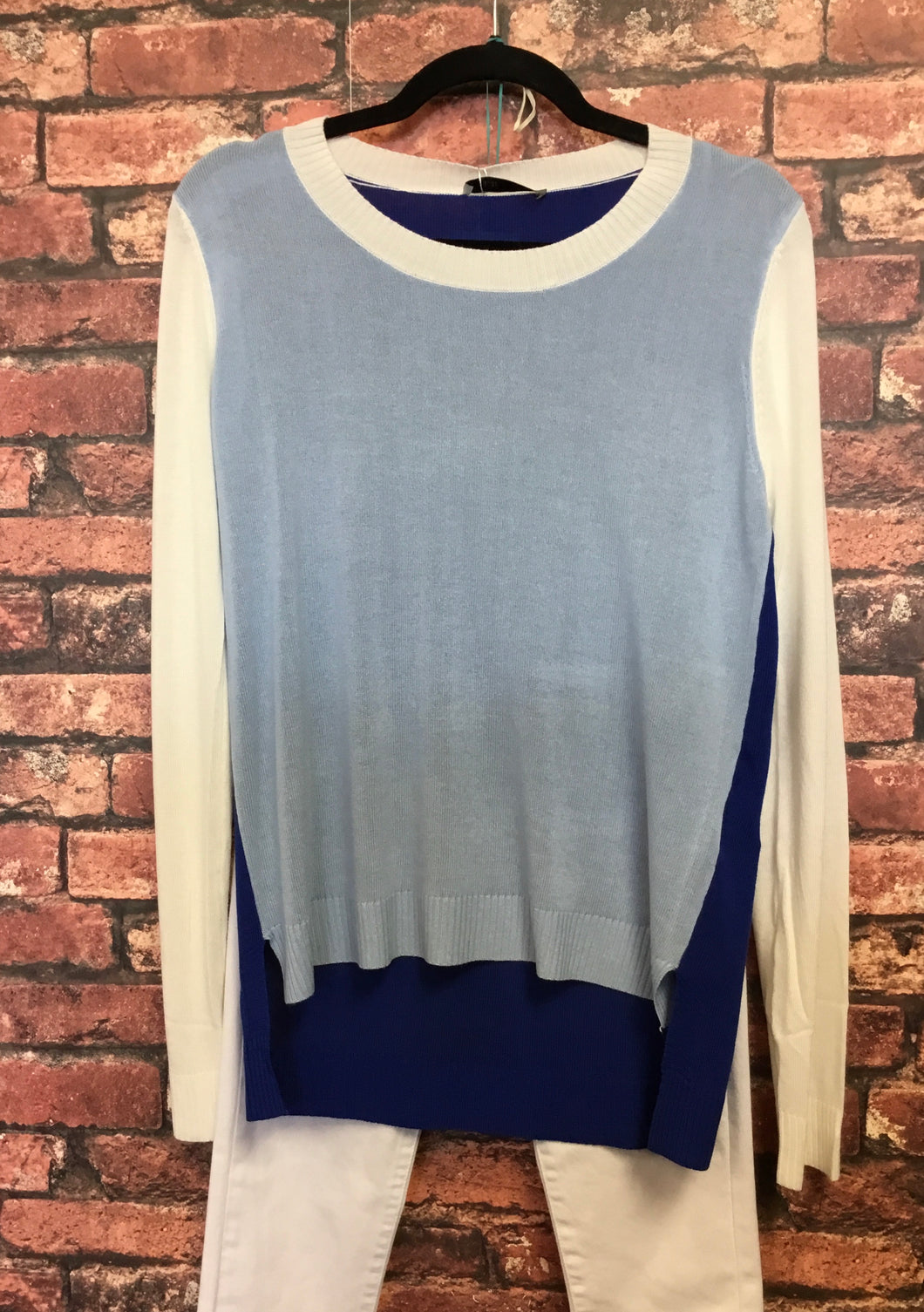 Light Blue And White Color Block Sweater