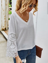 V neck waffle knit Top W/ lace Sleeve
