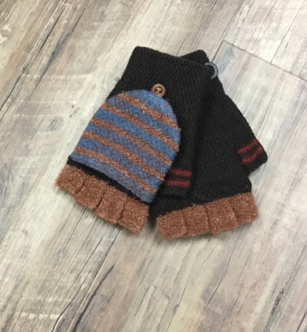 Knit Striped Fingerless Glove With Button Flap