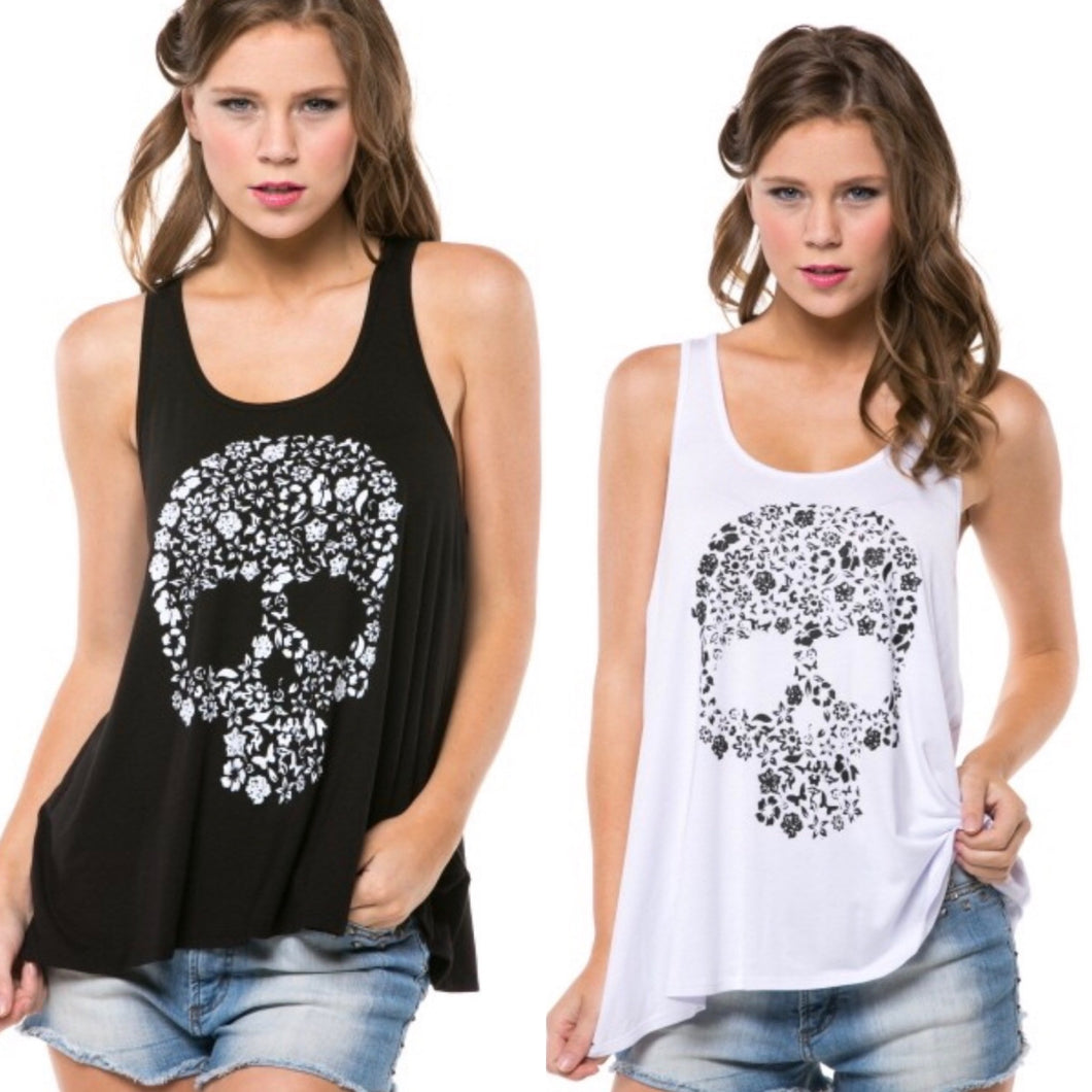 Graphic floral skull tank