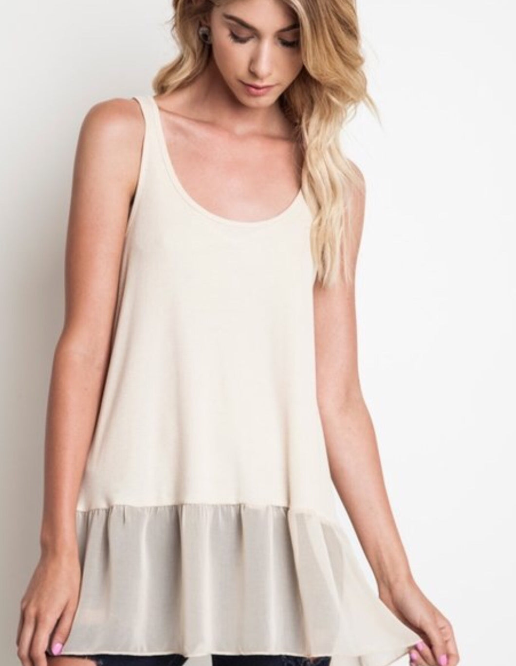 Off White Ruffled Extender Tank