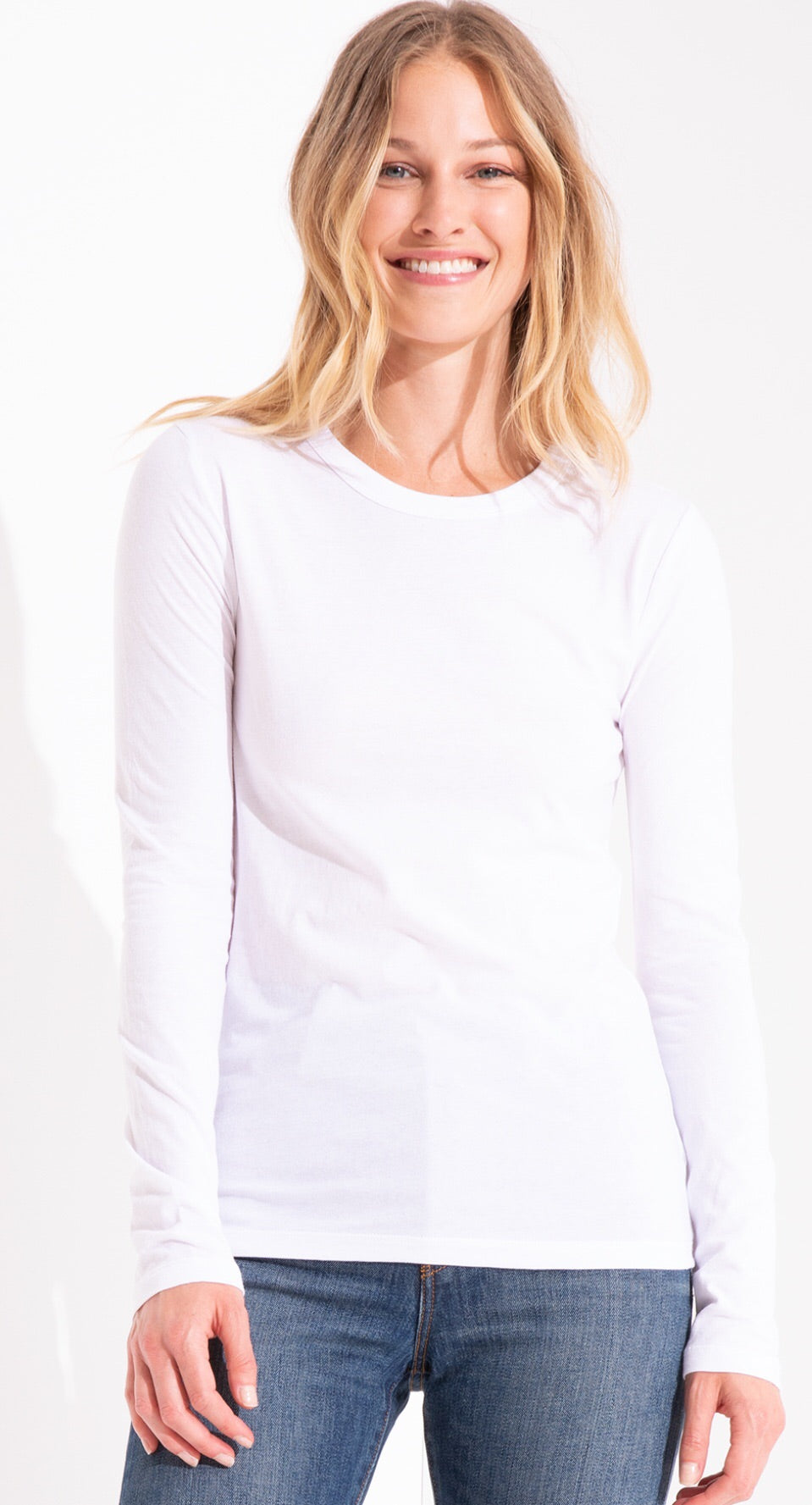 White Fitted long sleeve  Crew