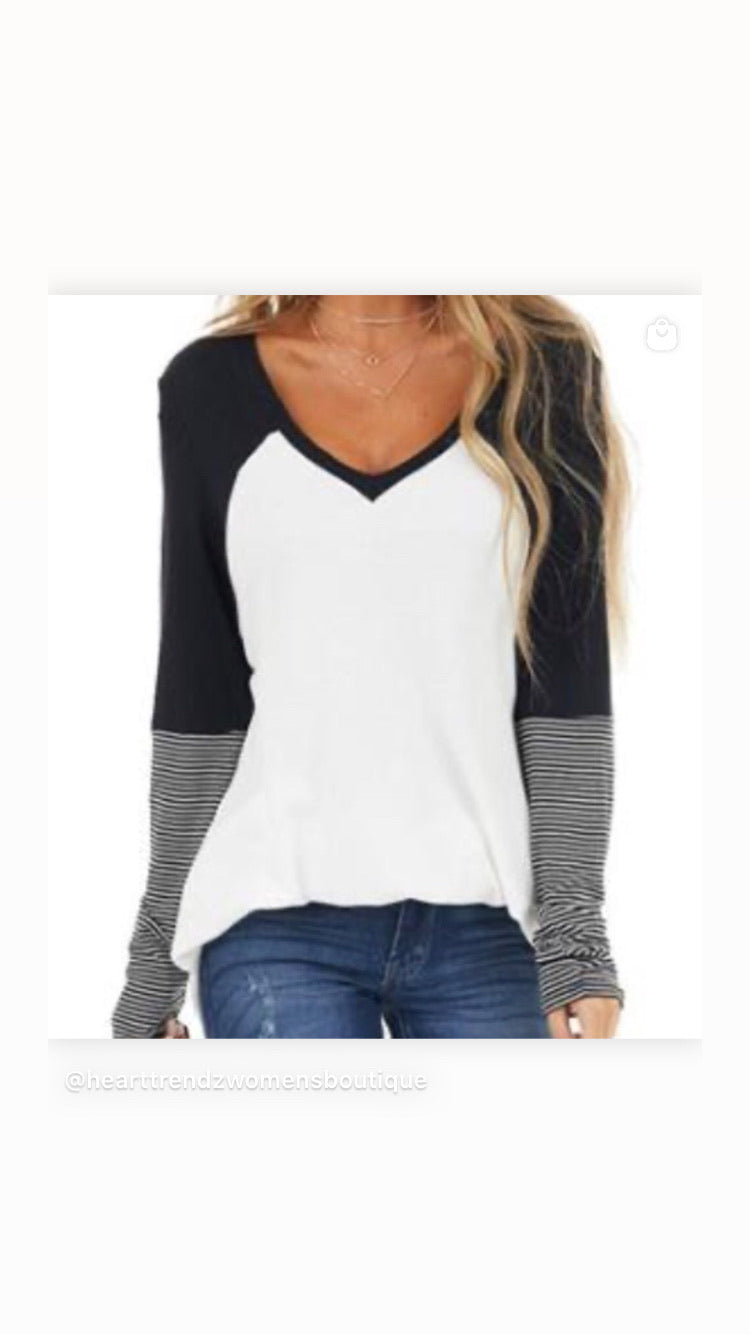 Color block V Thermal with Striped sleeves