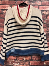 Striped hoodie sweater with denim waistband and cuff
