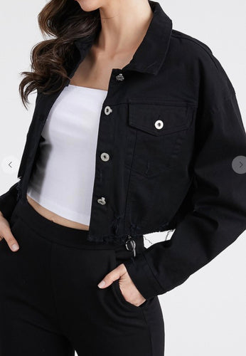 Cropped Distressed Black Denim Jacket