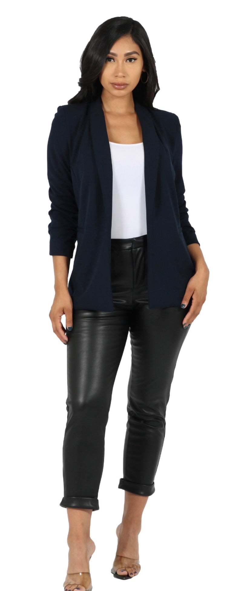 Crepe Solid Blazer W/ Ruched Sleeves