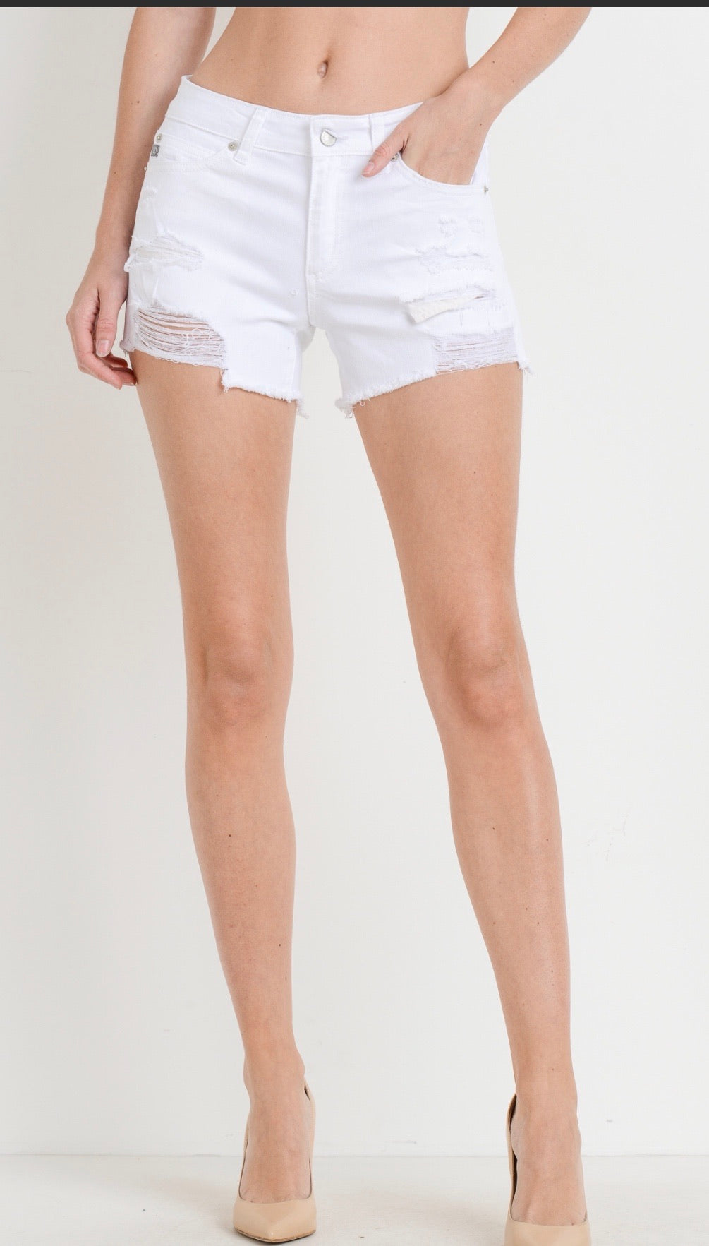 White Mid Rise Destroyed Shorts
