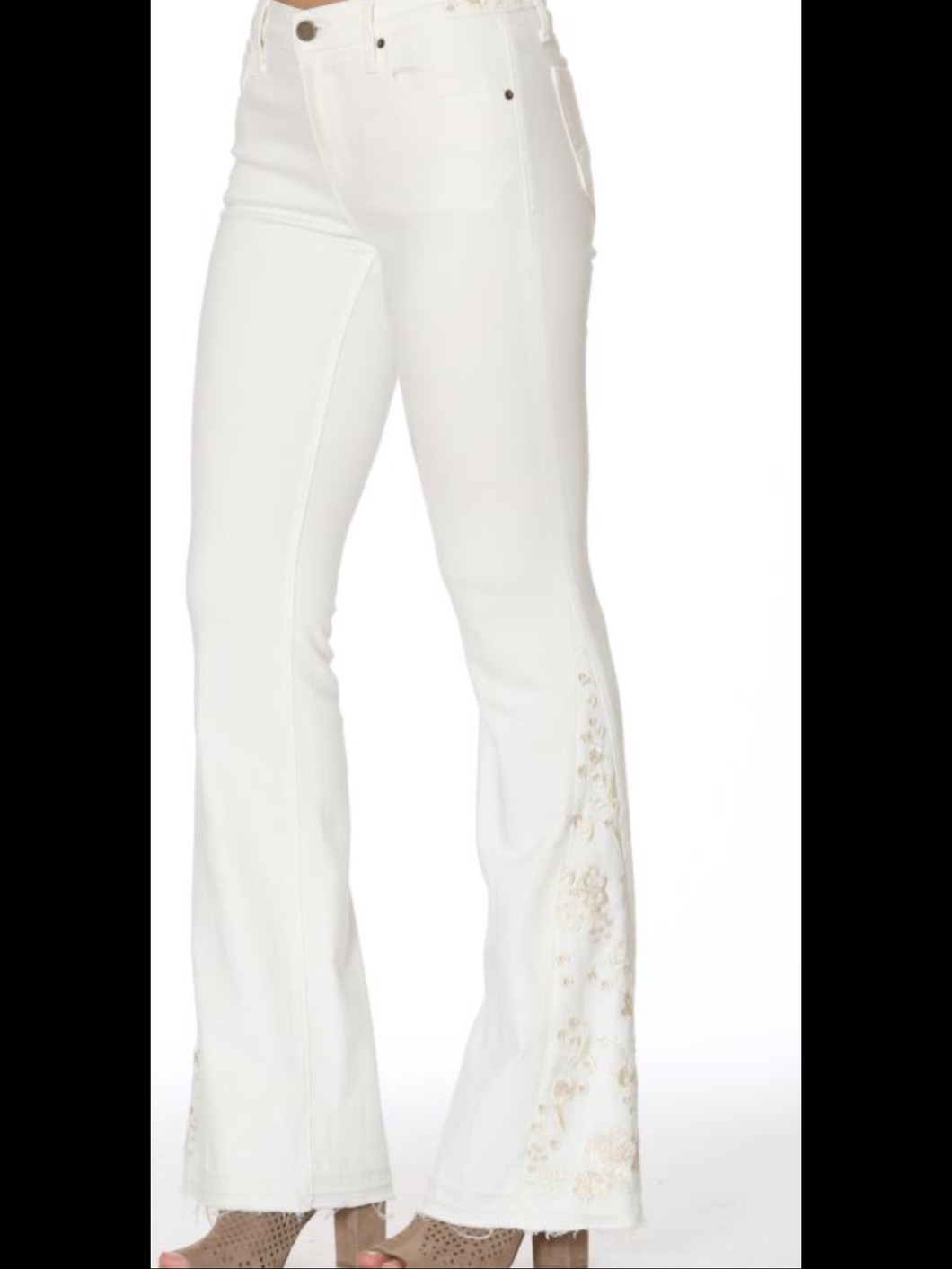 White Isabel Flare Jeans With Flower on Hem