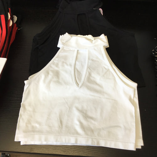 Mock Sleeveless Crop Top Teardrop Opening