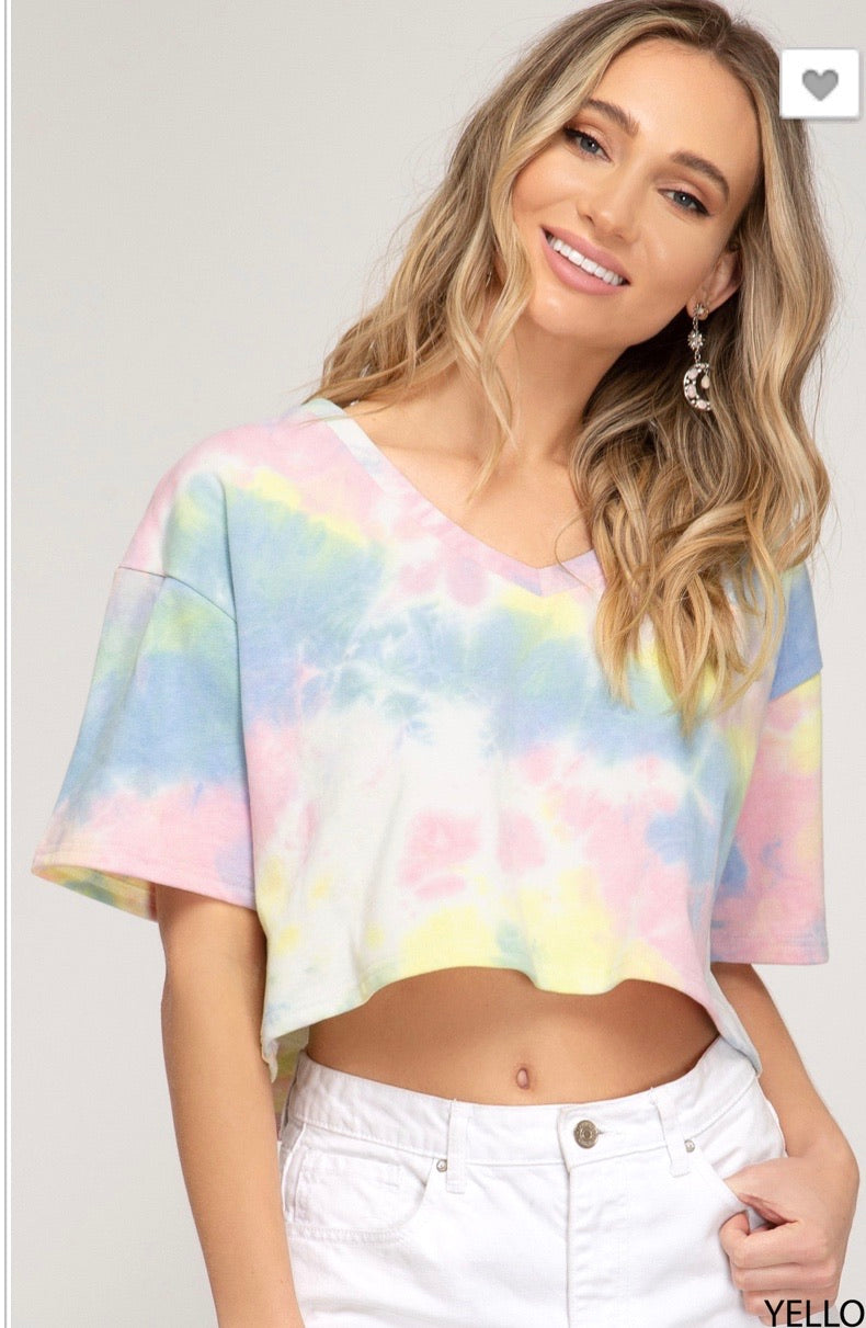 Short Sleeve Crop Tie Dye tee