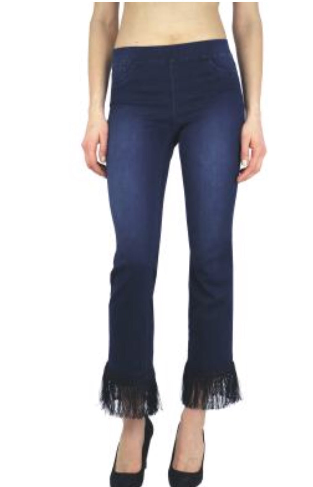 Dark Denim stretch jean with black fringe hem