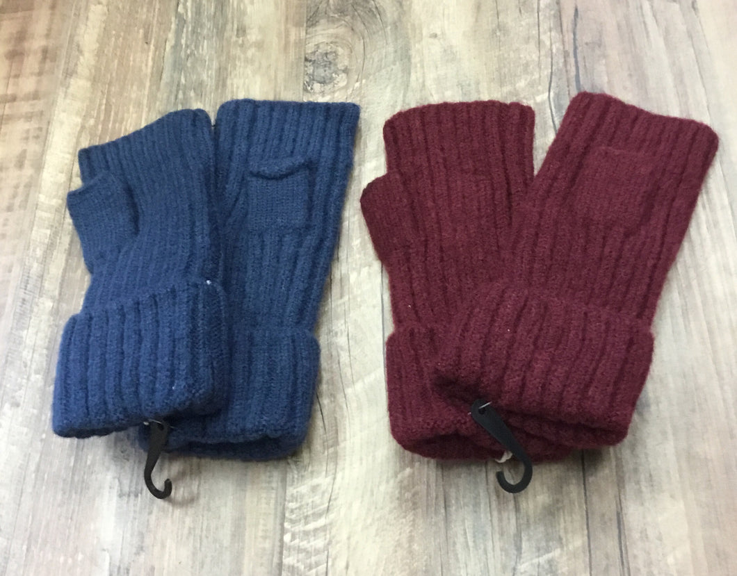 Knit ribbed fingerless gloves with cuff