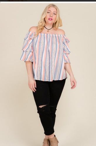 Plus Off Shoulder Top with Vertical Multi Stripes