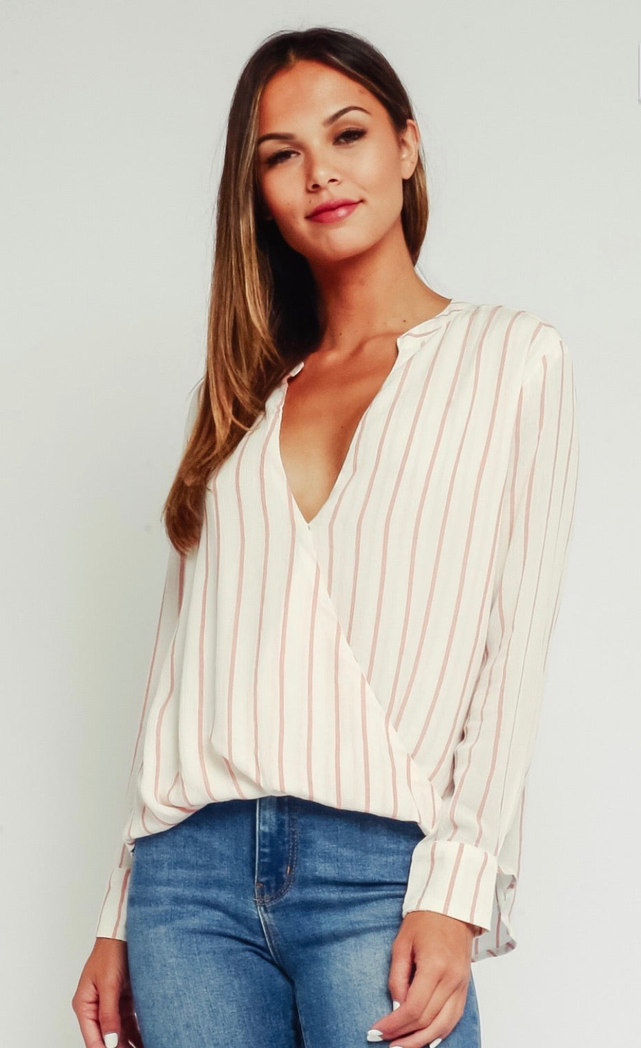 Striped draped blouse long sleeve top