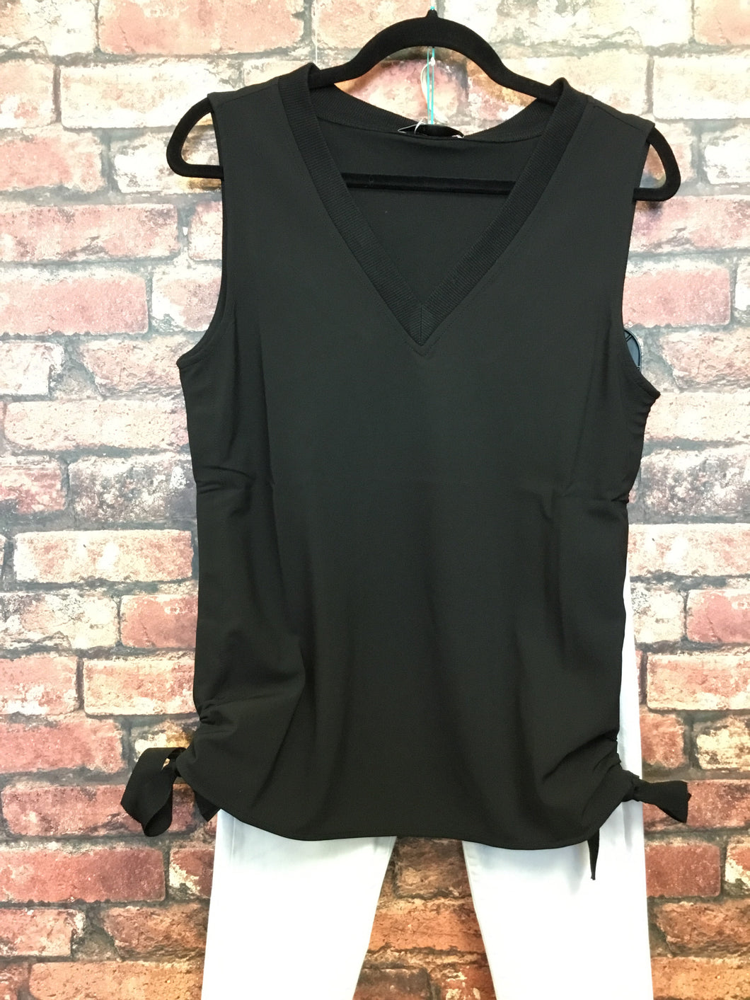 Black V Neck Tank Top With Side Tie Detail
