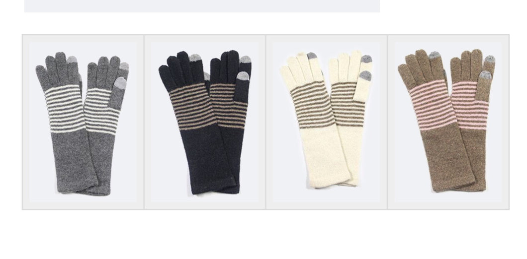 Striped Knit 1 Touch Long Gloves
