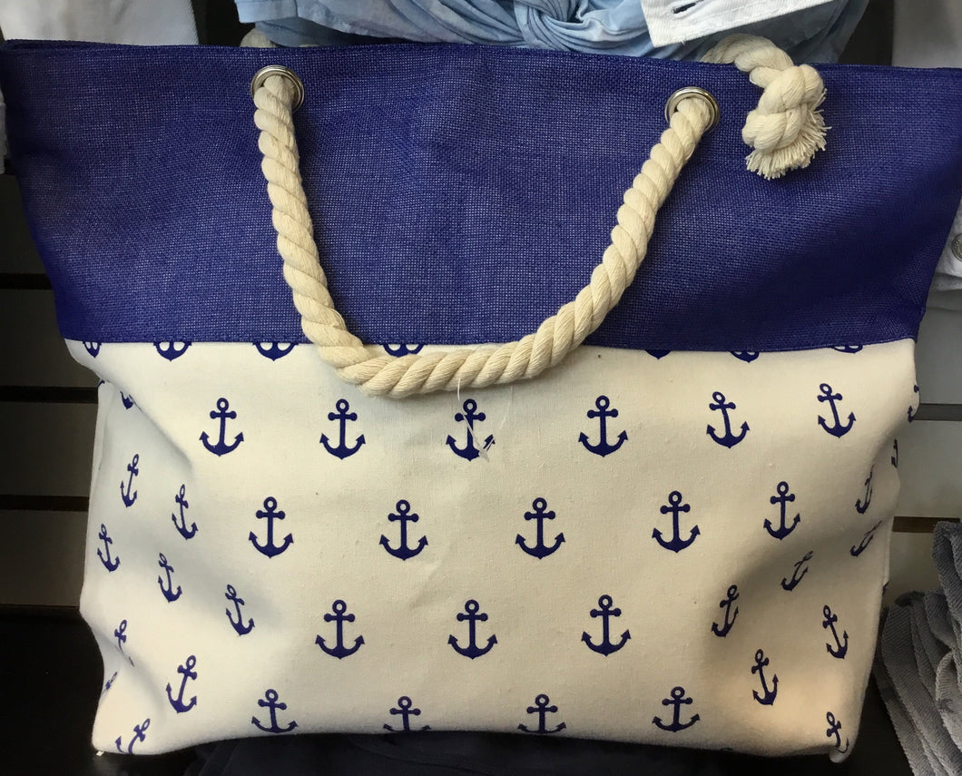 White and Navy Pom Pom Beach Tote