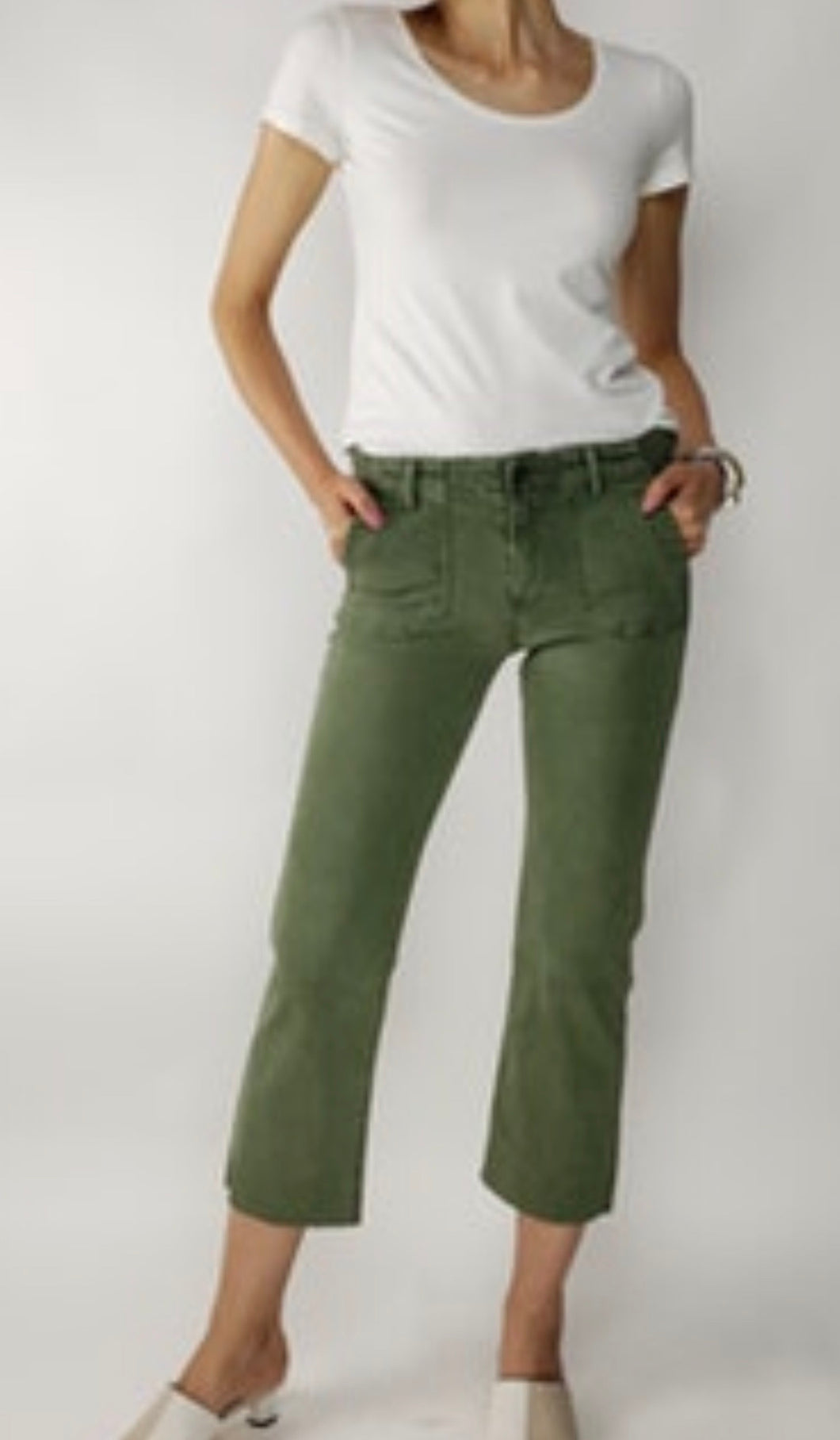 Army green crop flare pants