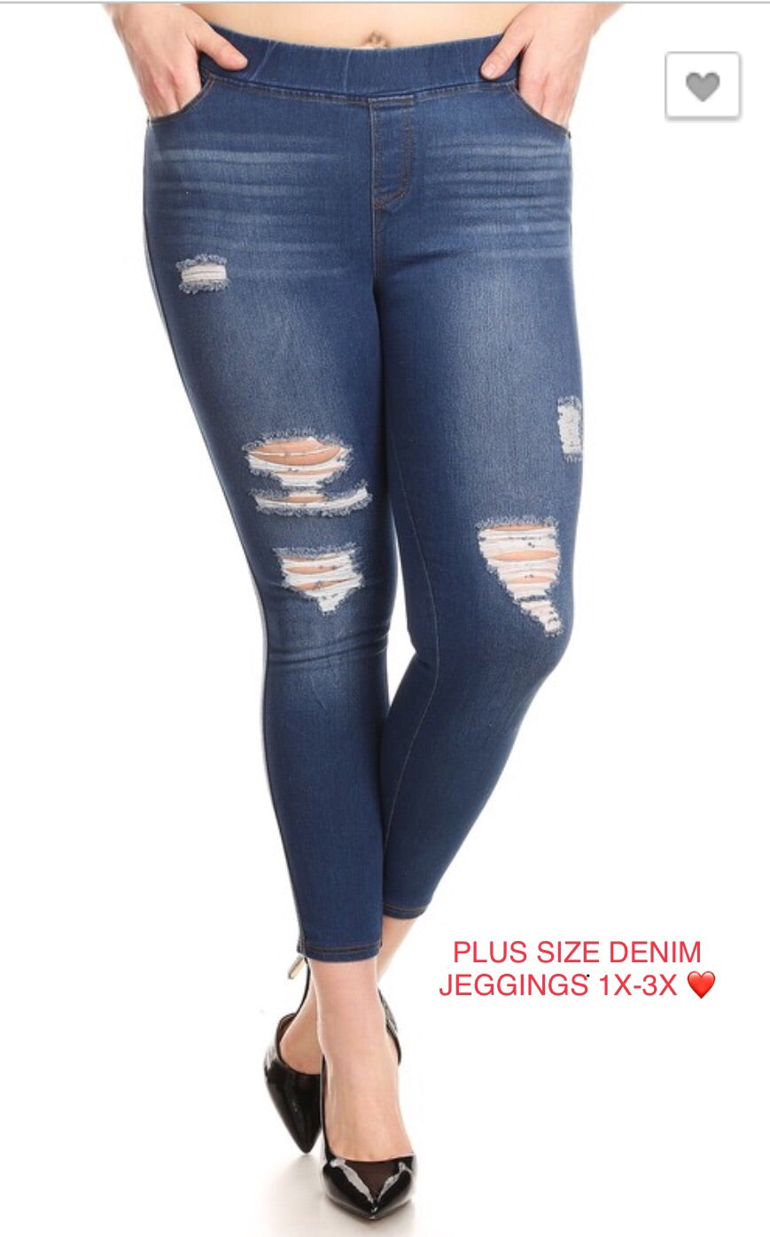 Distressed Denim Plus Size Leggings