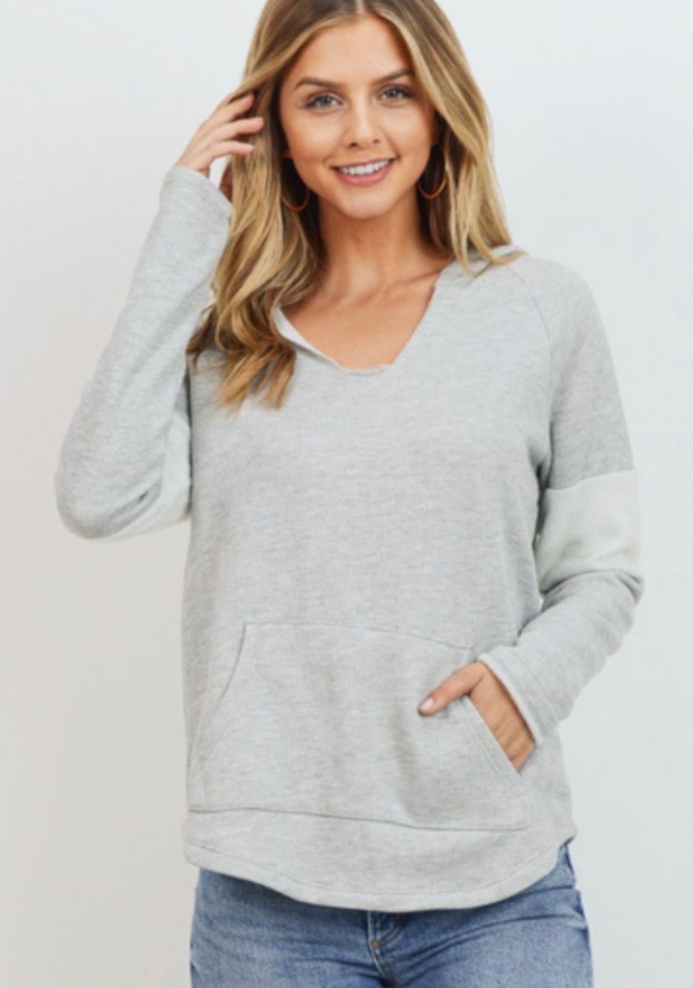 Hoodie Sweatshirt with Stripe Contrast On Sleeve
