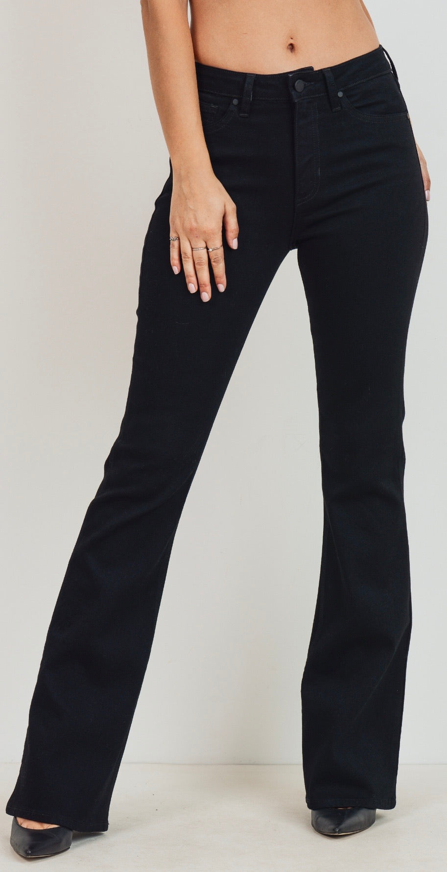 Skinny flare black denim