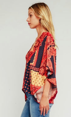 Tapestry blouse w/ dolman sleeves