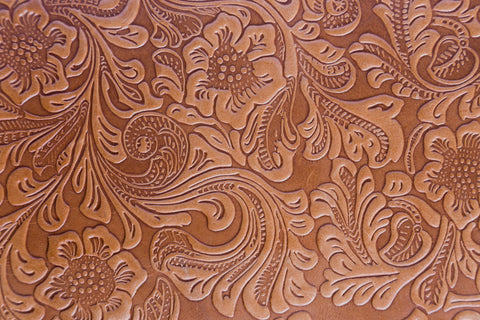 Embossed tan leather sheet