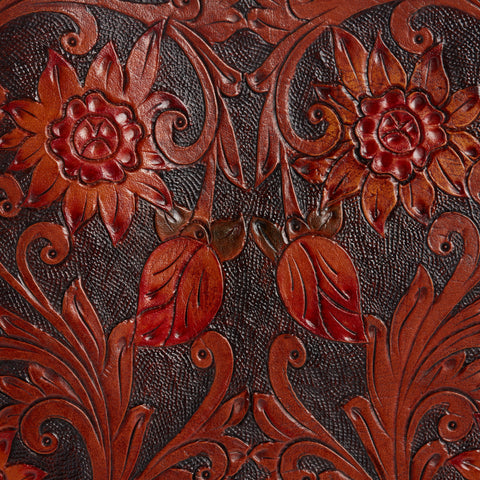 Hand tooled leather sheet with floral motifs