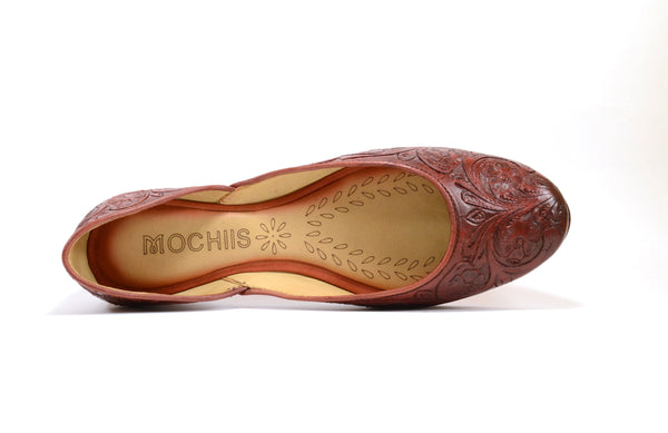Maroon handmade leather flat shoes with hand-carved floral design