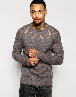 Hooded jacquard jumper
