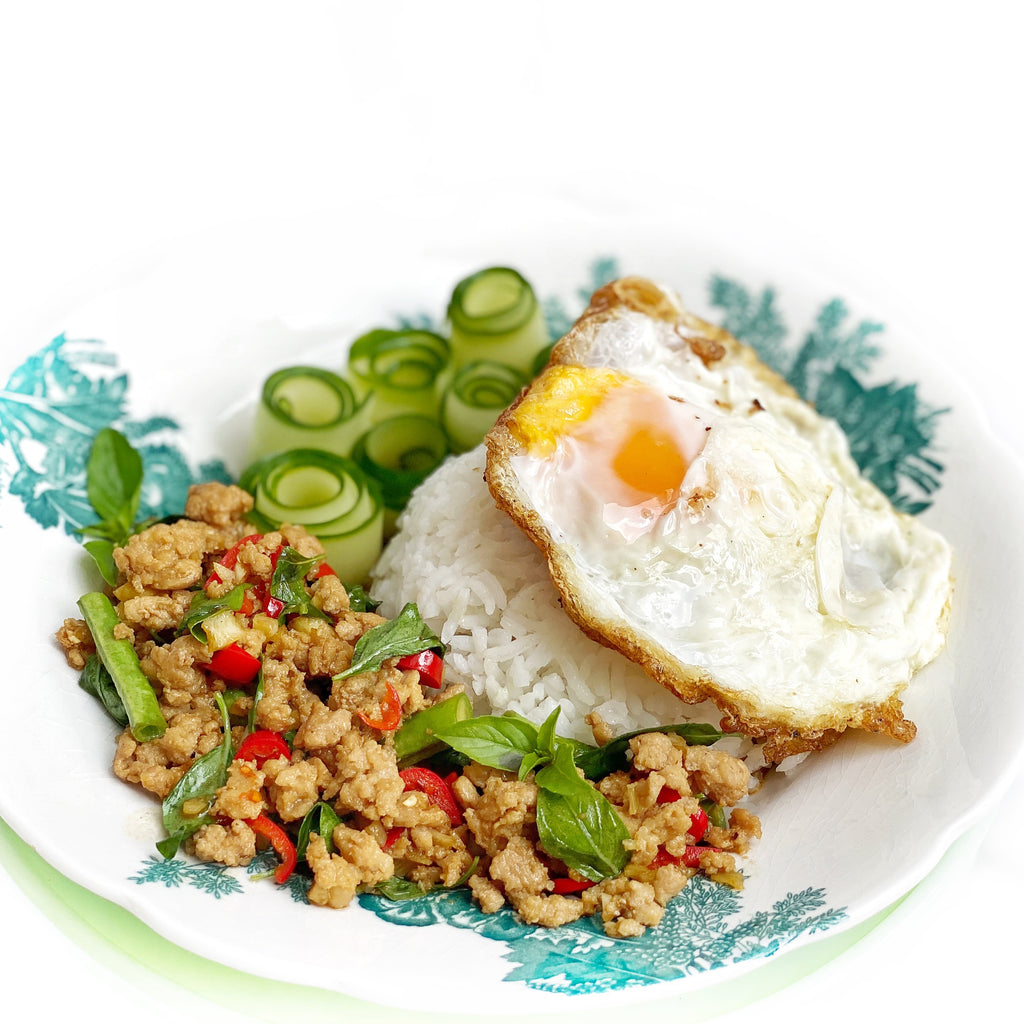 Pad Ka Prao Gai (Spicy Thai Basil Chicken) with Cucumber Curls