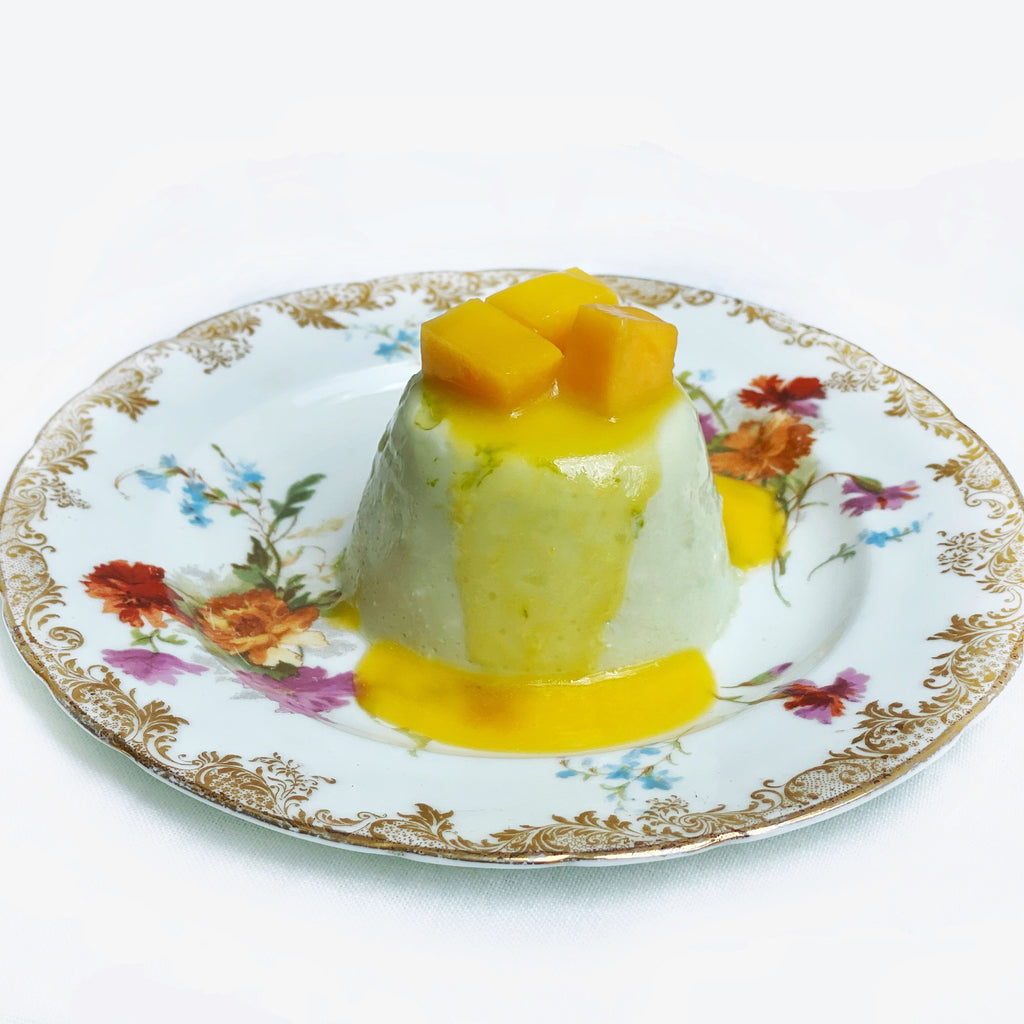 Pandan Panna Cotta with Mango Butter