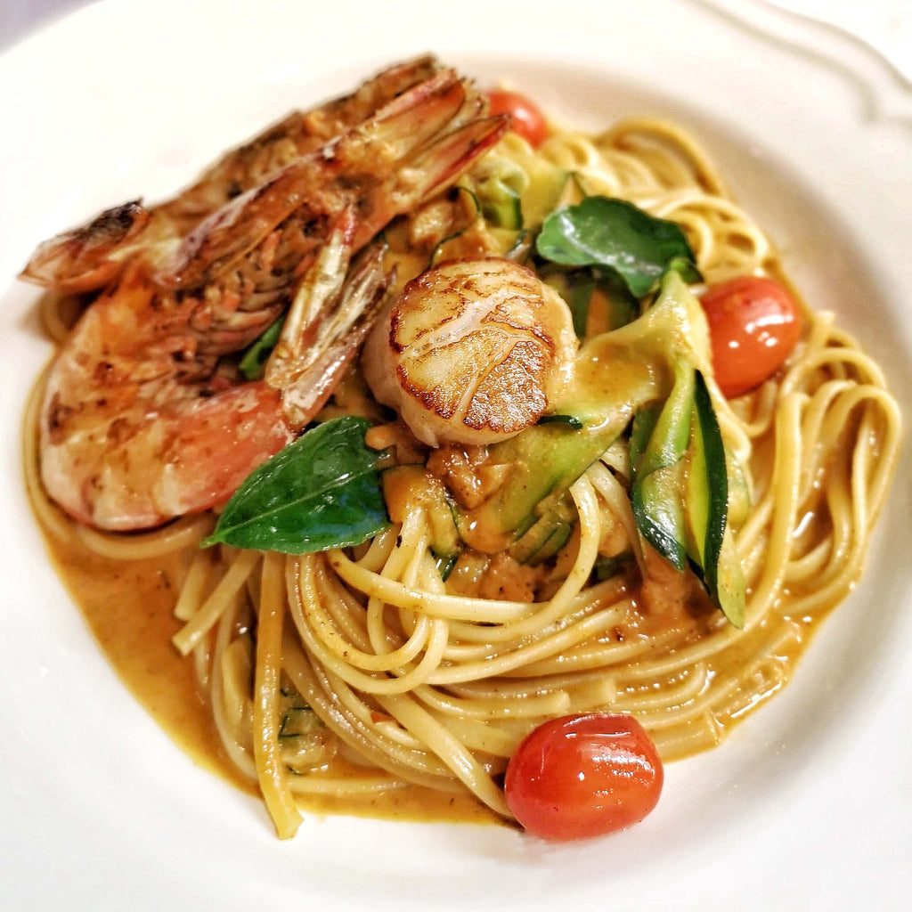 Seafood Linguine with Tom Yum Butter Sauce