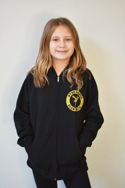 Byrd Dance Youth Zip-Up Hooded Sweatshirt - Gold Design