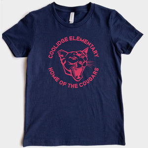 Coolidge Cougar Adult Tee - Pink Design