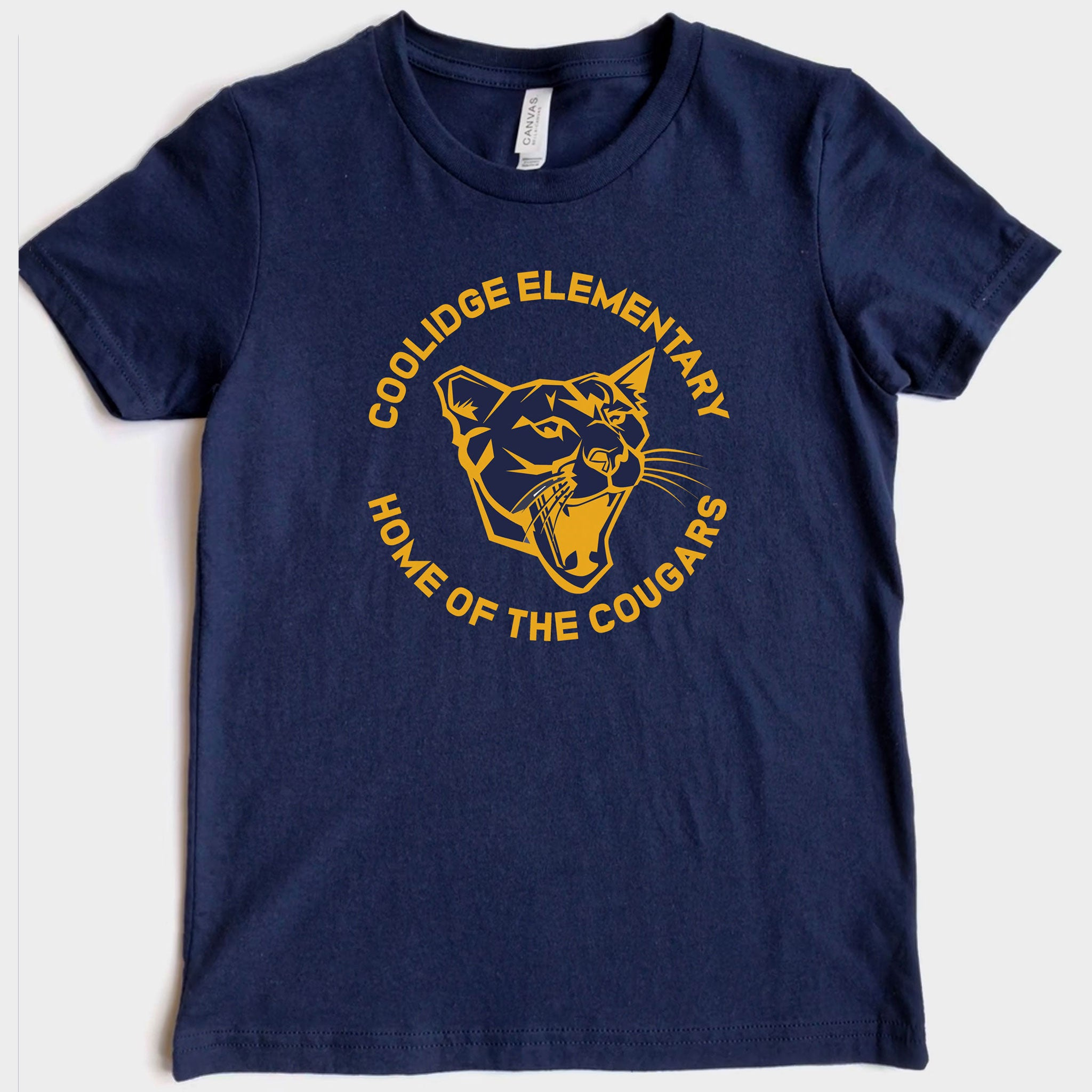Coolidge Cougar Adult Tee - Yellow Design