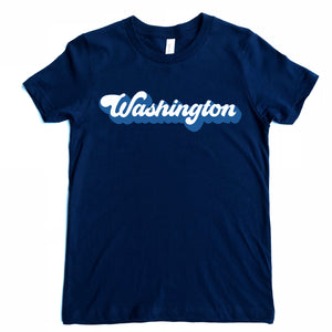 Washington Adult Groovy Logo Tee - Navy