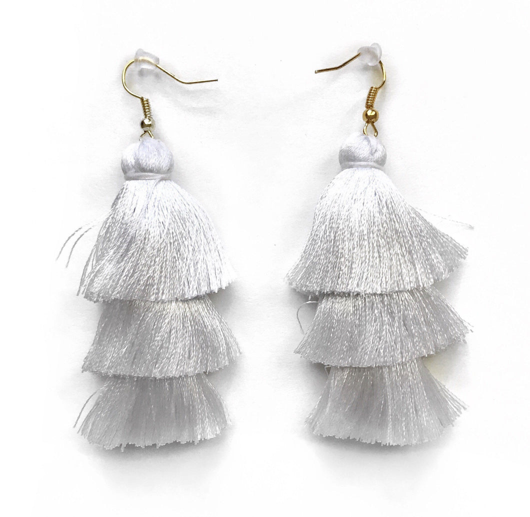 WHITE - LAYERED DROP EARRINGS - Fringe With Benefits
