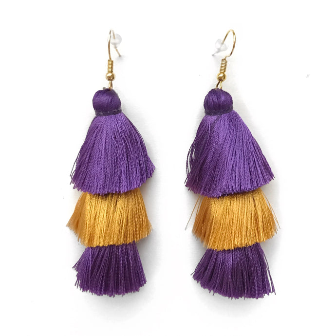 GAMEDAY PURPLE/GOLD - LAYERED DROP EARRINGS
