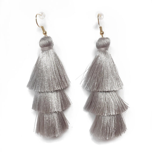 GREY- LAYERED DROP EARRINGS - Fringe With Benefits