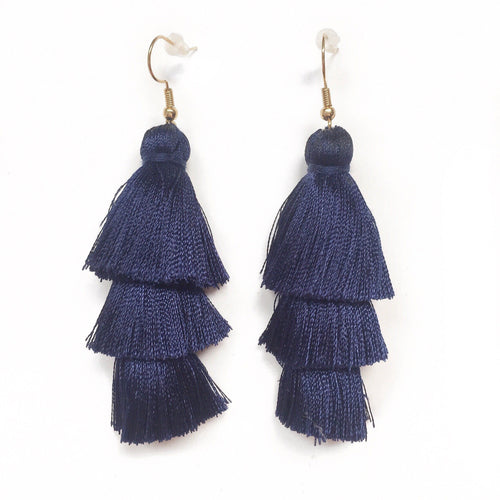 NAVY - LAYERED DROP EARRINGS - Fringe With Benefits
