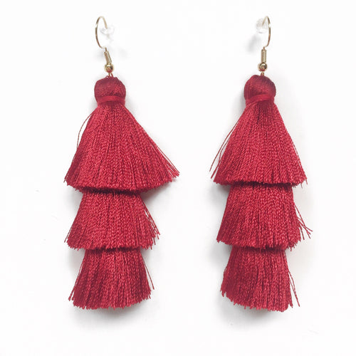 RED - LAYERED DROP EARRINGS - Fringe With Benefits