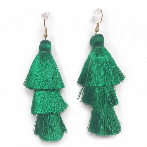 EMERALD GREEN - LAYERED DROP EARRINGS - Fringe With Benefits