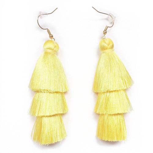 YELLOW - LAYERED DROP EARRINGS - Fringe With Benefits