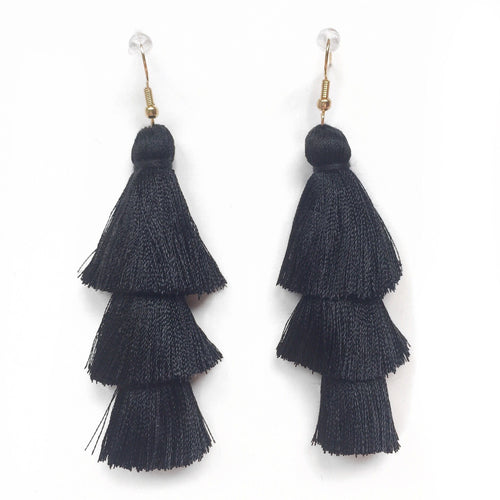 BLACK - LAYERED DROP EARRINGS - Fringe With Benefits
