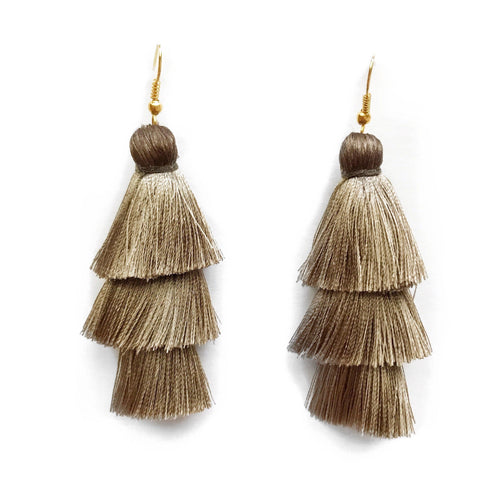 TAUPE- LAYERED DROP EARRINGS - Fringe With Benefits