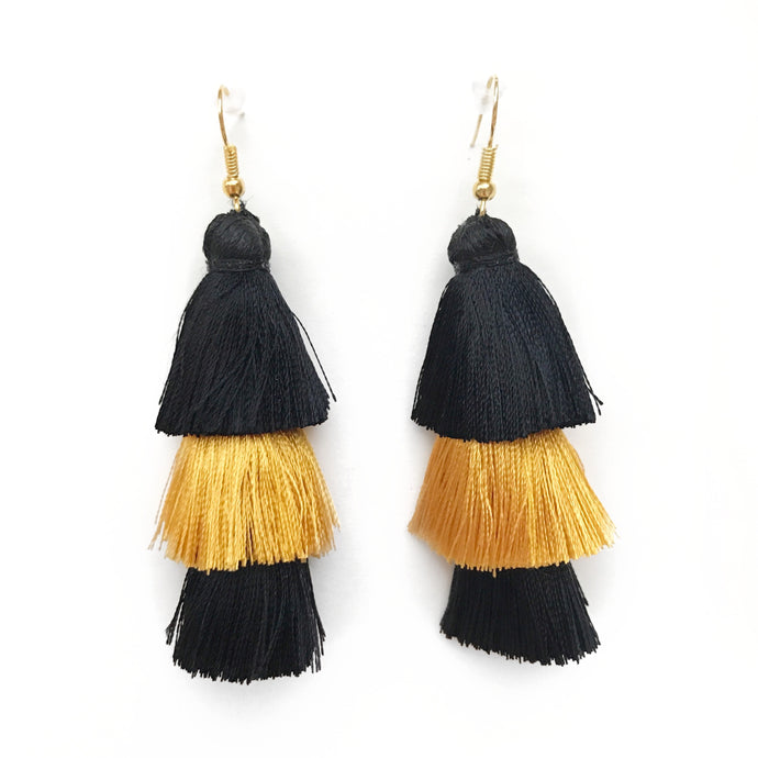 GAMEDAY BLACK/GOLD - LAYERED DROP EARRINGS